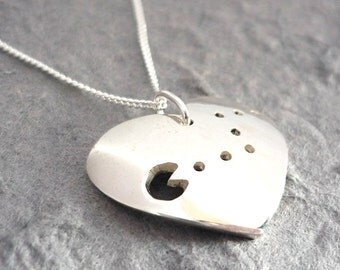 Simple Silver Handmade Pacman Heart Pendant