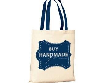 Buy Handmade - Canvas Tote (You Choose Handle Color)
