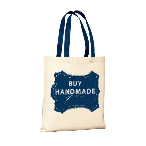 Buy Handmade - Canvas Tote (You Choose Handle Color)