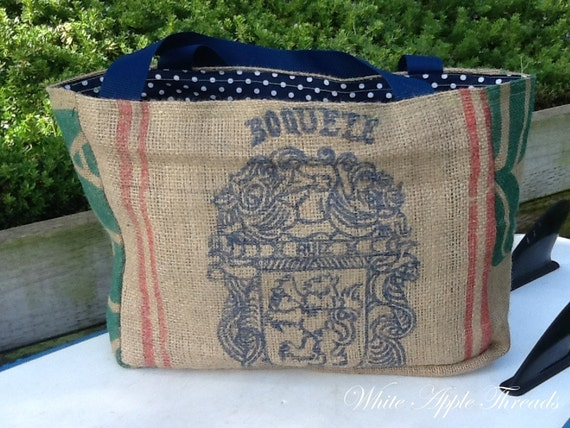 Cafe De Panama Eco-Friendly Tote Bag, Handmade from a Recycled Coffee Sack