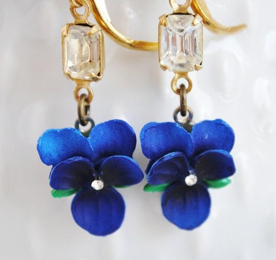 Blue Violet Bridal Earrings with Vintage Jewels