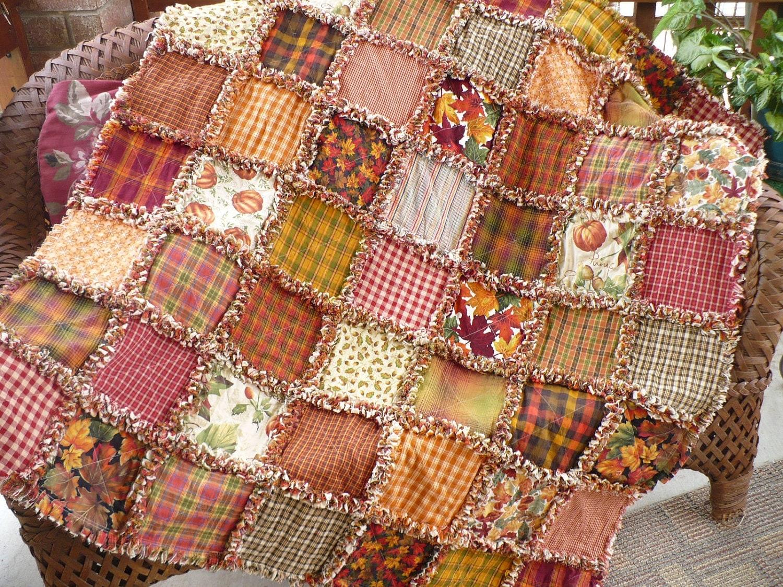 Fall Homespun Rag Quilt Autumn Spice Sampler By