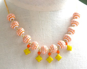 Orange and White Glass Bead Bright Yellow Glass Orange Glass Vintage Square Rhinestone Dangle Mosaic Necklace,- Bridal, Boho, Beach