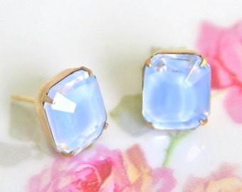 Vintage Periwinkle Blue Givre Glass Rectangle Lilac Purple Glass Faceted Rhinestone Post Earrings - Bridesmaids, Wedding,