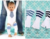 Baby Boy, NEW Football Striped Leg Warmers & Blue Plaid Tie Bodysuit Set.  Any Tie Fabric. Classy, Trendy, 1st First Birthday Outfit, Gift