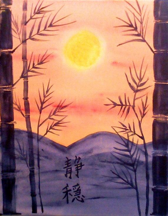 Serenity Original Acrylic Painting on Canvas Japanese Kanji