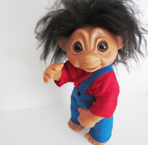 Vintage Giant Troll 17 Inch Boy Troll 1979 Thomas Dam number 806 Black Hair Red Shirt Blue Pants