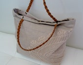 Linen tote bag with doily hand applique and leather handle