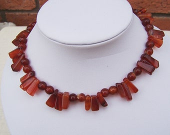 Classic Carnelian Beaded Necklace, Handmade Jewelry, Brown Necklace, Gemstone Necklace, UK Seller