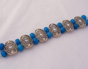 Jade Bracelet with Vintage Silvertone Connectors, Blue Jade Bracelet, Handmade Bracelet, UK Seller