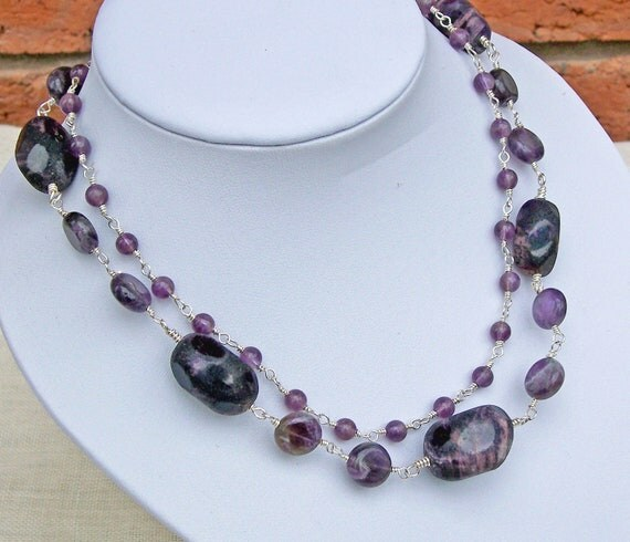 Two Strand Amethyst Necklace, Chunky Necklace, Purple Necklace, Gemstone Necklace, UK Seller