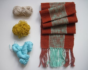 Handwoven Scarf Rust Orange and Tropical Mint Green, Winter Accessory, Clashing Colors, Colorblock Scarf