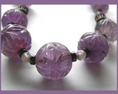 Antique Necklace Carved Amethyst Round Beads Sautoir 57 inch loop