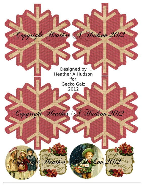 Shabby Vintage Christmas Snowflake Ornaments tag Digital Collage sheet