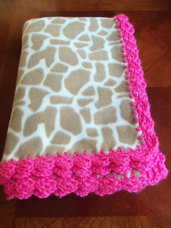 Baby Blanket  - Giraffe Fleece with Hot Pink Crochet Edge