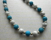 GREAT GIFT IDEA---Turquoise Beads And White Moonstone Beaded Unisex Necklace