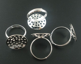 10 Silver Plated ADJUSTABLE RING BASES - Glue Pad 18 mm - 17.5mm (Ring Size 7)