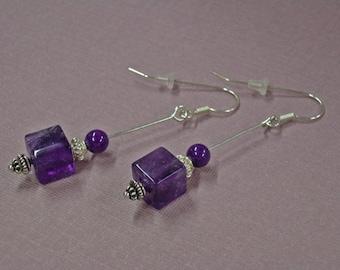 Amethyst Earrings --  ON SALE  --  Amethyst Cubes and Sterling Silver Dangle Earrings