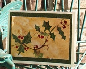 Christmas Holly Card - Original Watercolor Christmas Card