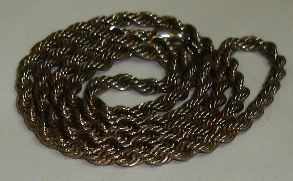Vintage Sterling 925 Silver Heavy Large Rope Chain Necklace UNISEX