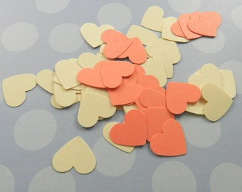 100 Ivory and Salmon Mini Heart Confetti, Weddings, Valentine's Day, Mother's Day, Embellishments, Table Decorations, Size 1/2 inch