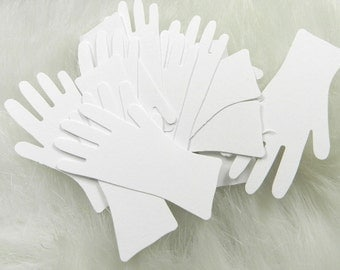 20 White Hand/Glove Die Cuts, Weddings, Confetti, Embellishments, Price Tags, Easter