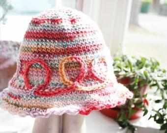 0 to 3m Newborn Baby Girl Hat, Baby Sun Hat, Ruffle Flapper Hat, Swirls Baby Cloche, Rainbow Baby Shower Gift, Newborn Baby Hat,  Baby Gift