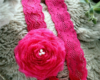 SALE 6 to 12m Hot Pink Chic Baby Girl Flower Headband, Hand Rolled Rosette Embellished With Freshwater Pearls and Sewn onto Stretchy Lace