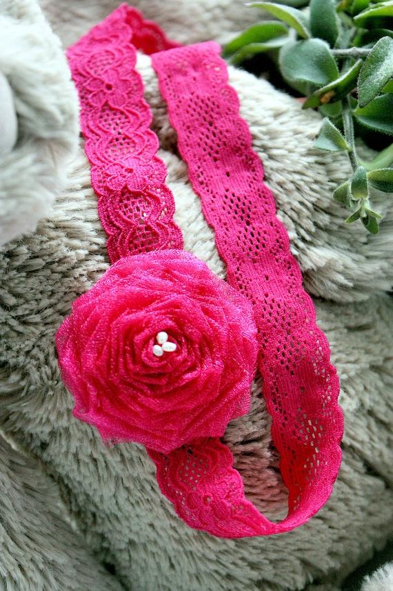 SUMMER SALE 0 to 3m Pink Flower Headband Hot Pink Baby Newborn Headband Freshwater Pearl Rosette Flower Headband Chic Baby Shower Gift