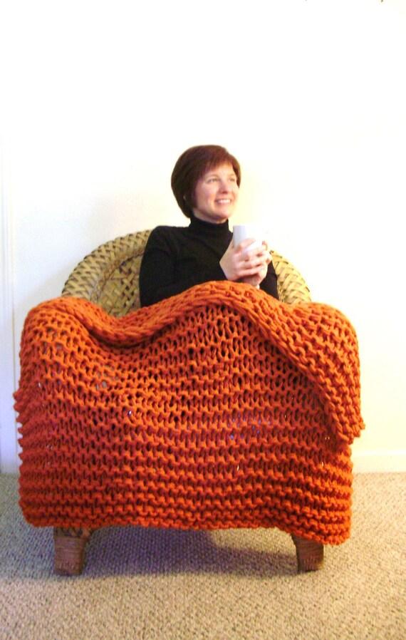 Pumpkin Orange Chunky Knit Throw Blanket - Great Housewarming Present or Wedding Gift