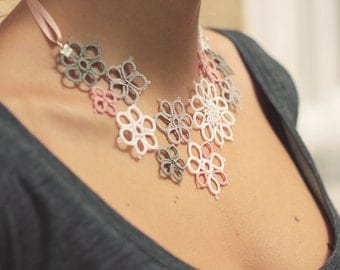 perfect gift for her - handmade tatted floral necklace - asymmetrical lace decoration