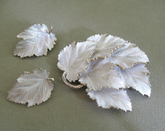 Large Metal White Washed Brooch and Earrings Jewelry Set