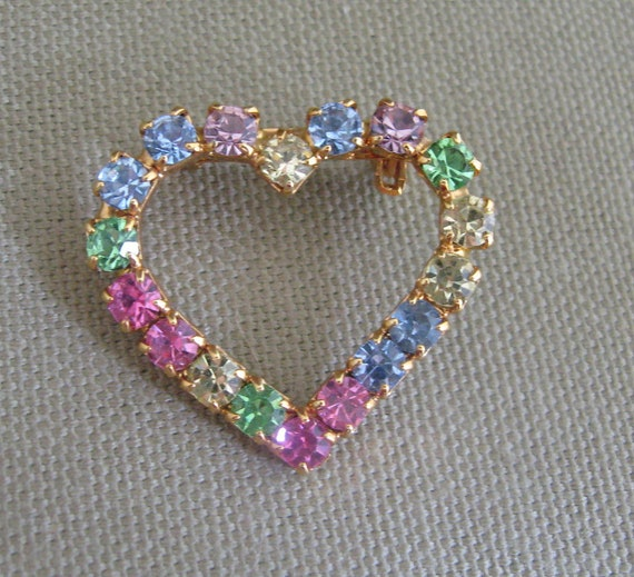 Pastels Rhinestones Heart Brooch Pin