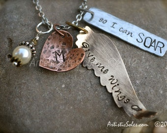 Give me Wings - Mixed Metal Custom Stamped Necklace