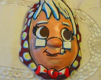 Vintage Nutty PROFESSOR HALLOWEEN MASK Granny Glasses, Orange Bow Tie, Brown White Polka Dots, Bright Colors, Neat 1950s Collectible