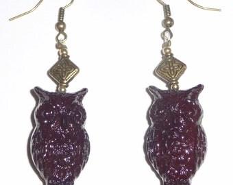 Brown Owl Earrings - Brown Dangle Earrings - Brown and Gold (sale/originally 9.99)