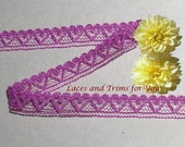 Plum Lace Trim 10 Yards Vintage Heart 3/8 inch wide Lot J63A Added Items Ship No Charge