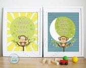 Nursery Wall Prints -Set of 2 - Morning and Sweet Dreams Little Monkey 8.5x11Inches. Nursery Decor, baby Gift