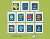 Planets Print Set. Our Universe. Set of 11, 5X7, Nursery decor, Boy or Girl room decor, Birthday Gift, Planet Artwork
