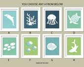 Sea Theme Nursery. Ocean Gallery. Set of 4, 11X14, YOU CHOOSE, Boy or Girl room decor, Birthday Gift, Sea world Artwork