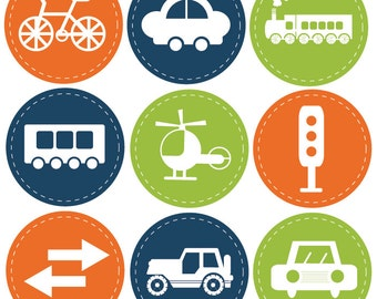 Reusable Wall Decals for Children, Transportation Icons, 7.5 Inches Round, Set of 9