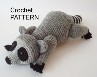 Raccoon Crochet Pattern Pose Able Raccoon Pattern Amigurumi Raccoon Digital Download Crochet Aimal Pattern Adobe Pdf File