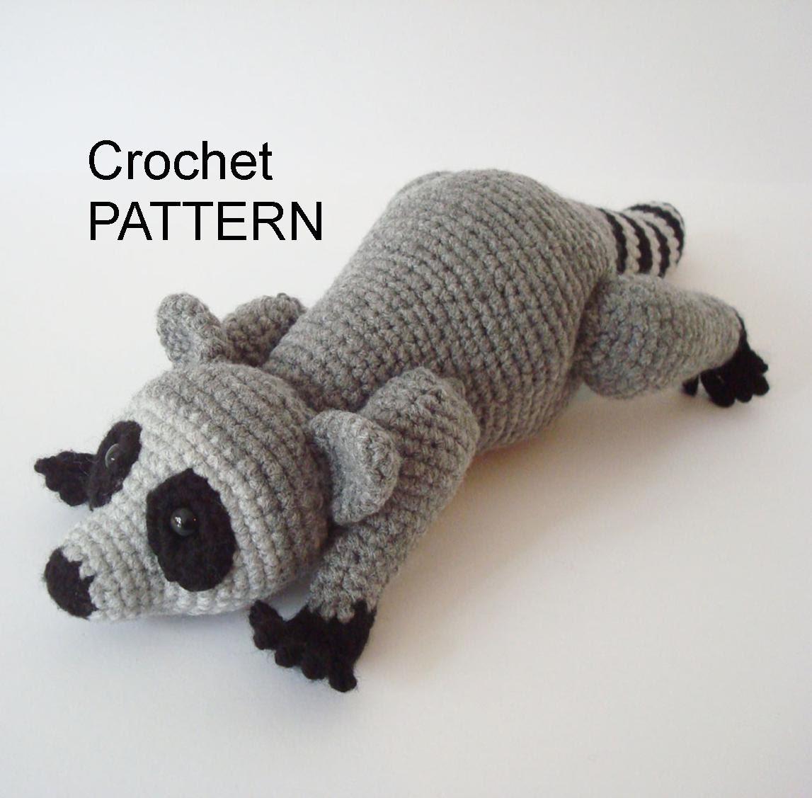 Amigurumi Raccoon Pattern Free : Raccoon Crochet Pattern Pose Able Raccoon Pattern Amigurumi