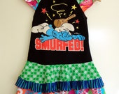 Karnival Kids Classic Upcycled Dress- Smurfed - Sz 5/6