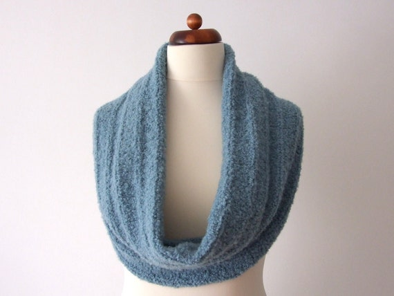 alpaca cowl, knit circle scarf, infinity neckwarmer, ocean green, handknit, for him, for her