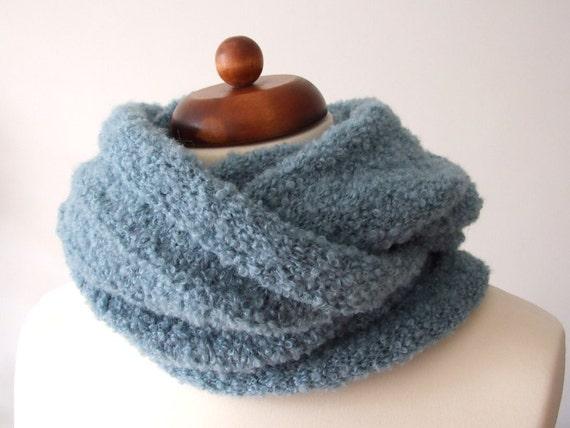 knit circle scarf, alpaca scarf, infinity neckwarmer, ocean green