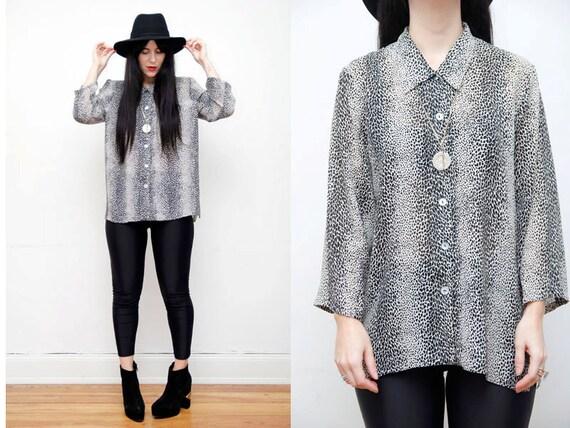 Sheer Leopard Print Slouch Grunge Shirt Blouse