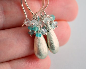 Gemstone Earrings, Sterling Silver, Aquamarine Apatite, Earings, March Birthstone Jewelry, Free Shipping