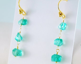 Bright Apatite Earrings, Dangle Earrings, Blue Sea Green, Aqua, Semiprecious Gemstone, Gold Filled, Vermeil Jewelry, Free Shipping