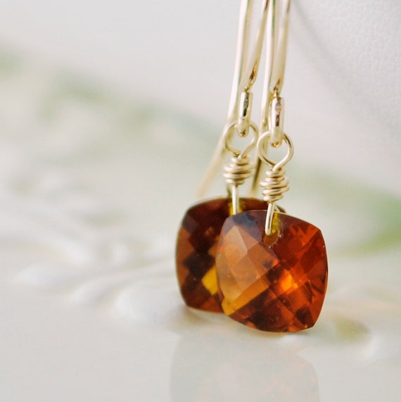 Burnt Orange Gemstone Earrings, Drop Earrings, Amber Madeira Quartz Cushion Cut, Simple Sparkly, Gold Filled Autumn Jewelry, Free Shipping